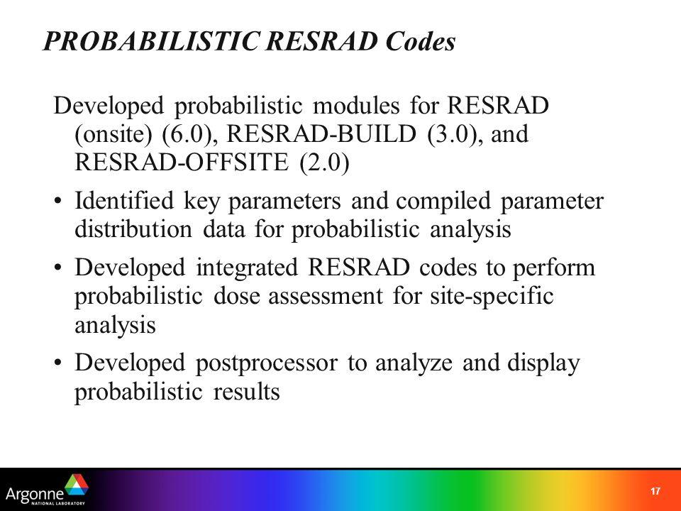 PROBABILISTIC RESRAD Codes
