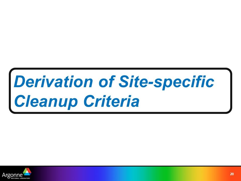 Derivation of Site-specific Cleanup Criteria