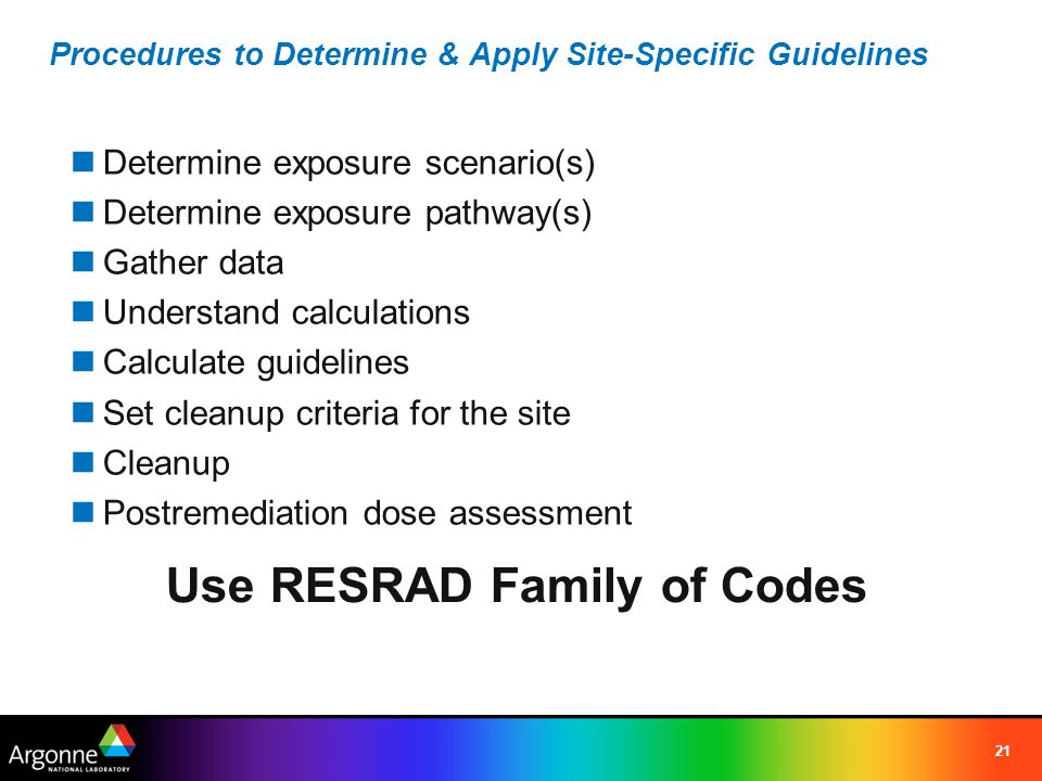 Procedures to Determine & Apply Site-Specific Guidelines