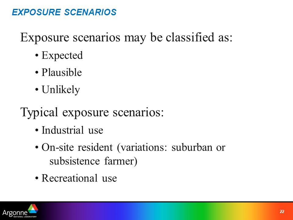 Exposure scenarios may be classified as: