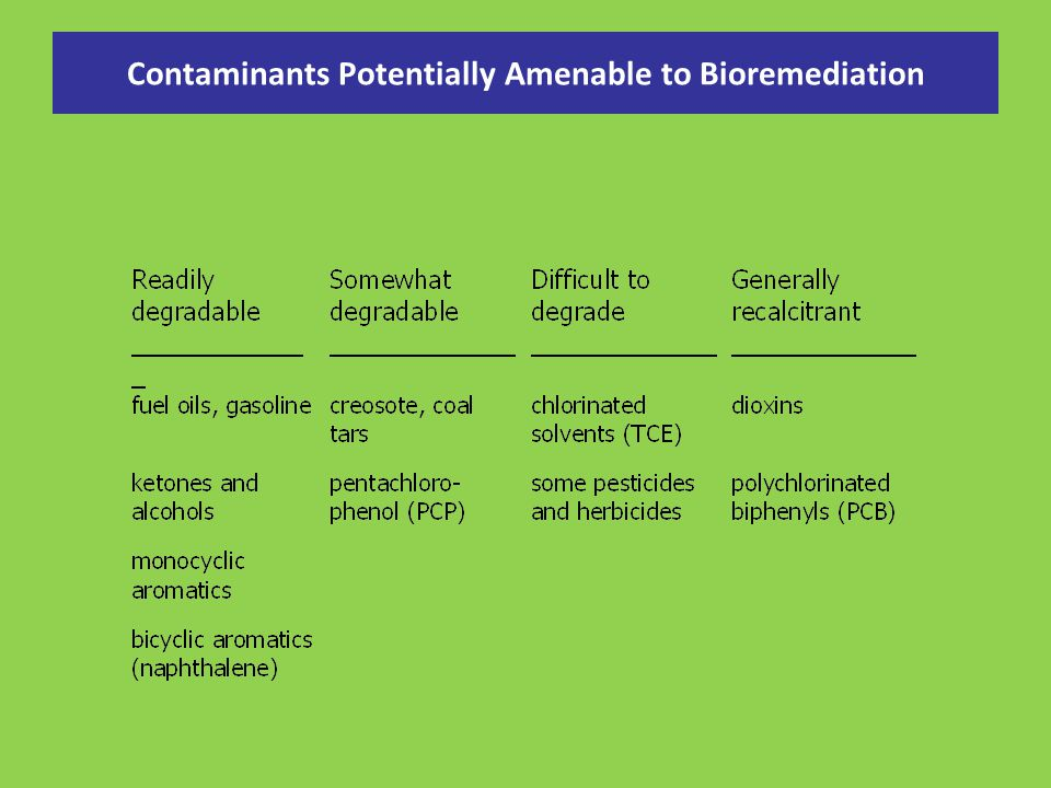 Contaminants Potentially Amenable to Bioremediation