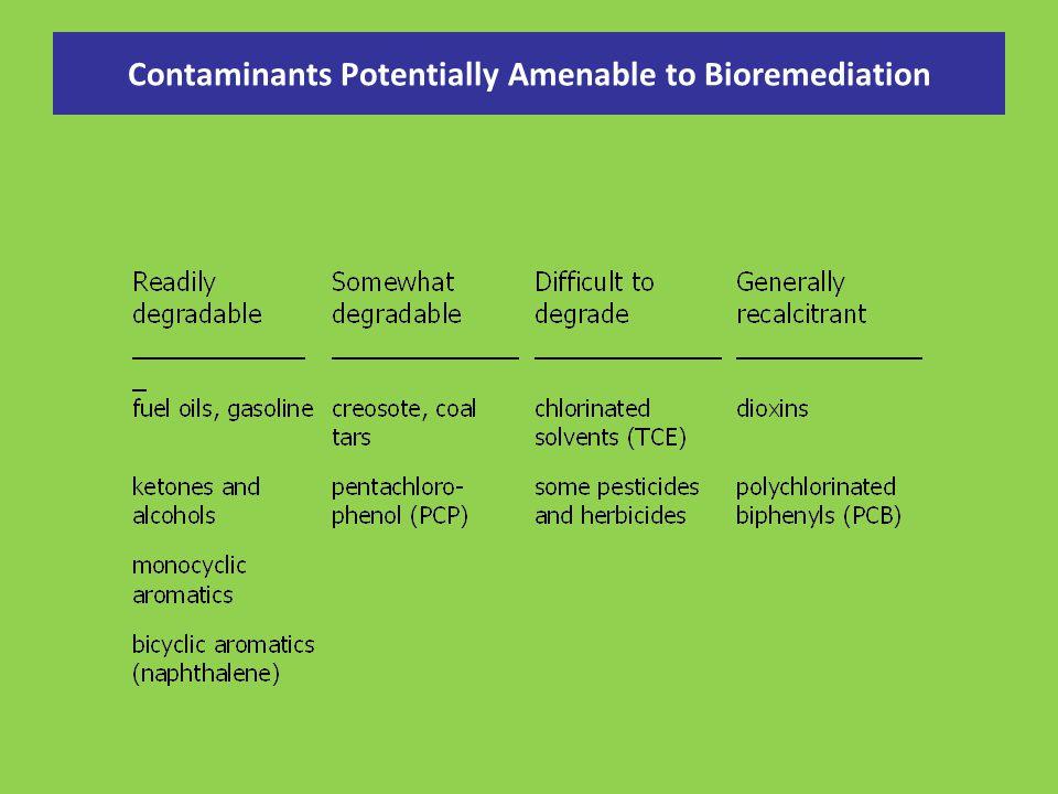 Contaminants Potentially Amenable to Bioremediation