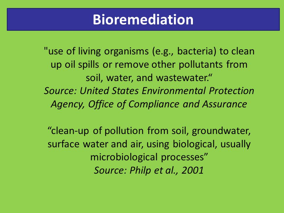 Bioremediation use of living organisms (e.g., bacteria) to clean up oil spills or remove other pollutants from soil, water, and wastewater.