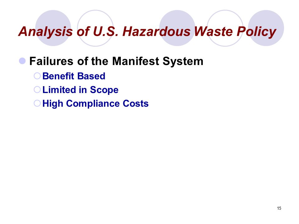Analysis of U.S. Hazardous Waste Policy