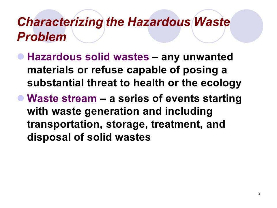 Characterizing the Hazardous Waste Problem