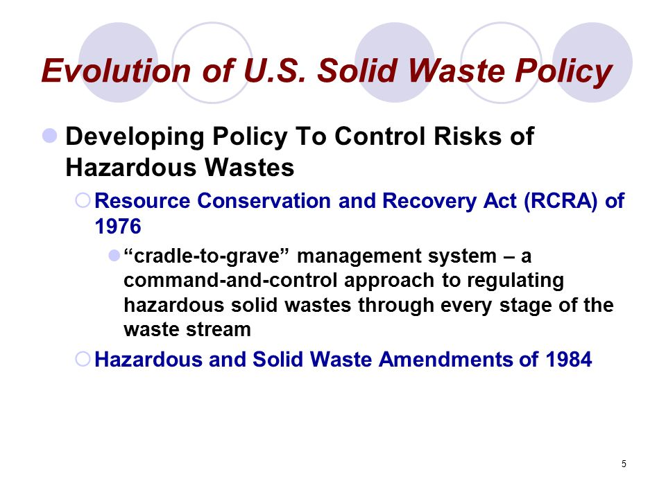 Evolution of U.S. Solid Waste Policy