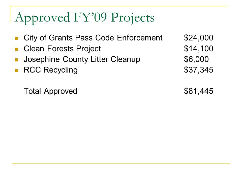 Approved FY'09 Projects City of Grants Pass Code Enforcement $24,000