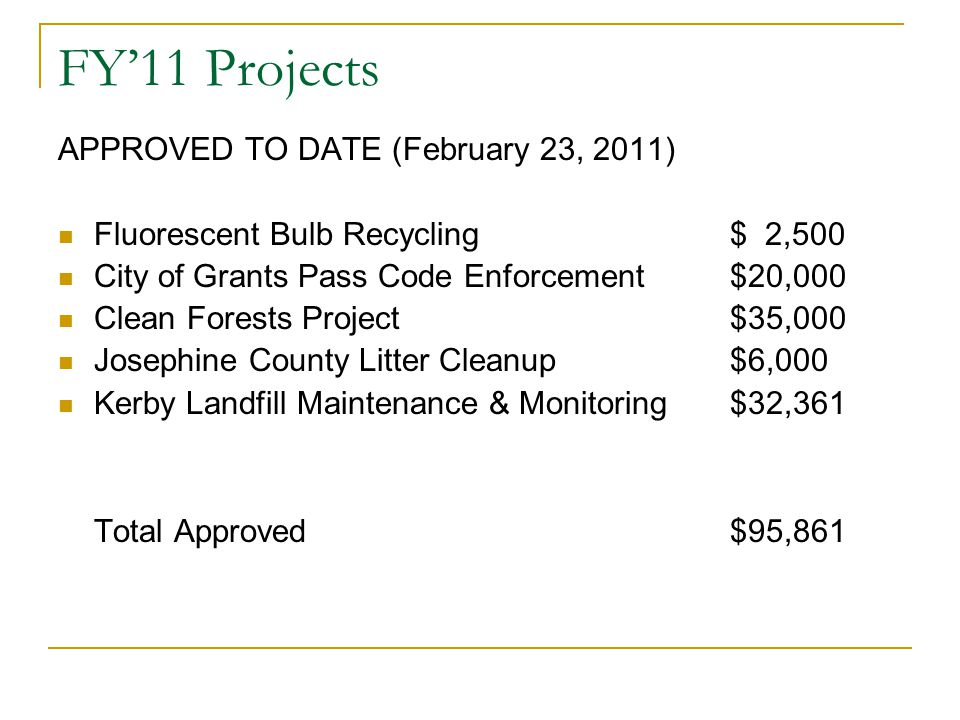 FY'11 Projects APPROVED TO DATE (February 23, 2011)