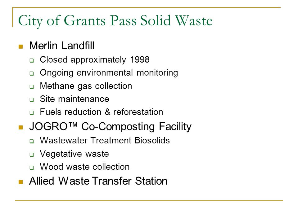 City of Grants Pass Solid Waste