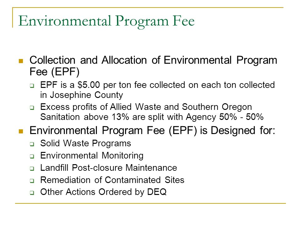 Environmental Program Fee