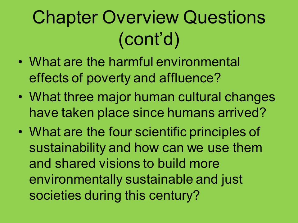 Chapter Overview Questions (cont'd)