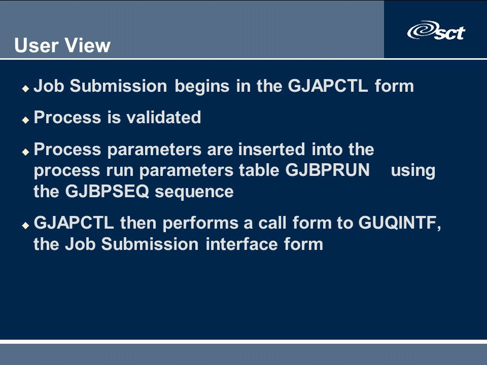User View Job Submission begins in the GJAPCTL form