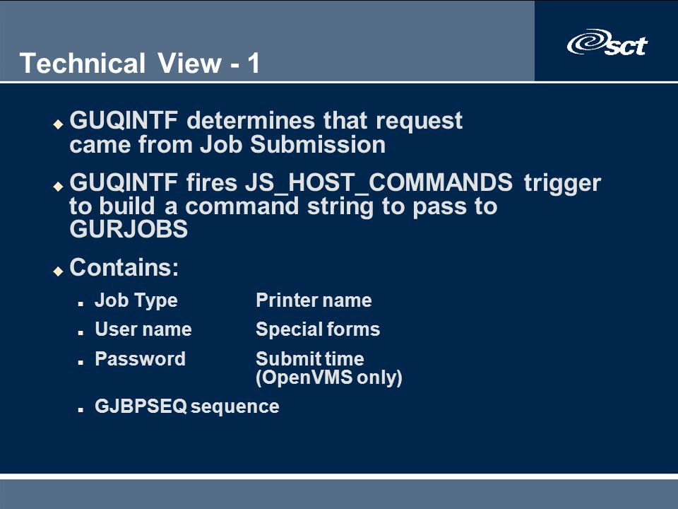 Technical View - 1 GUQINTF determines that request came from Job Submission.