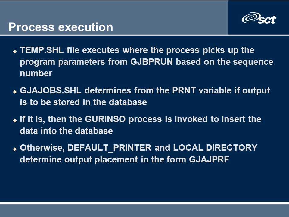 Process execution TEMP.SHL file executes where the process picks up the program parameters from GJBPRUN based on the sequence number.