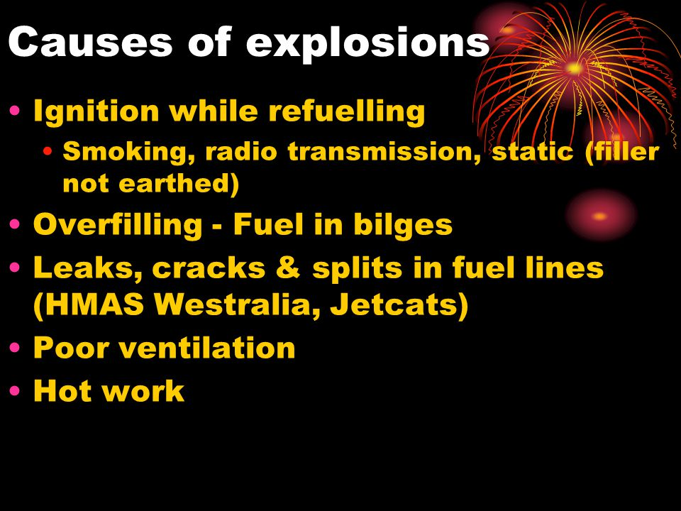 Causes of explosions Ignition while refuelling