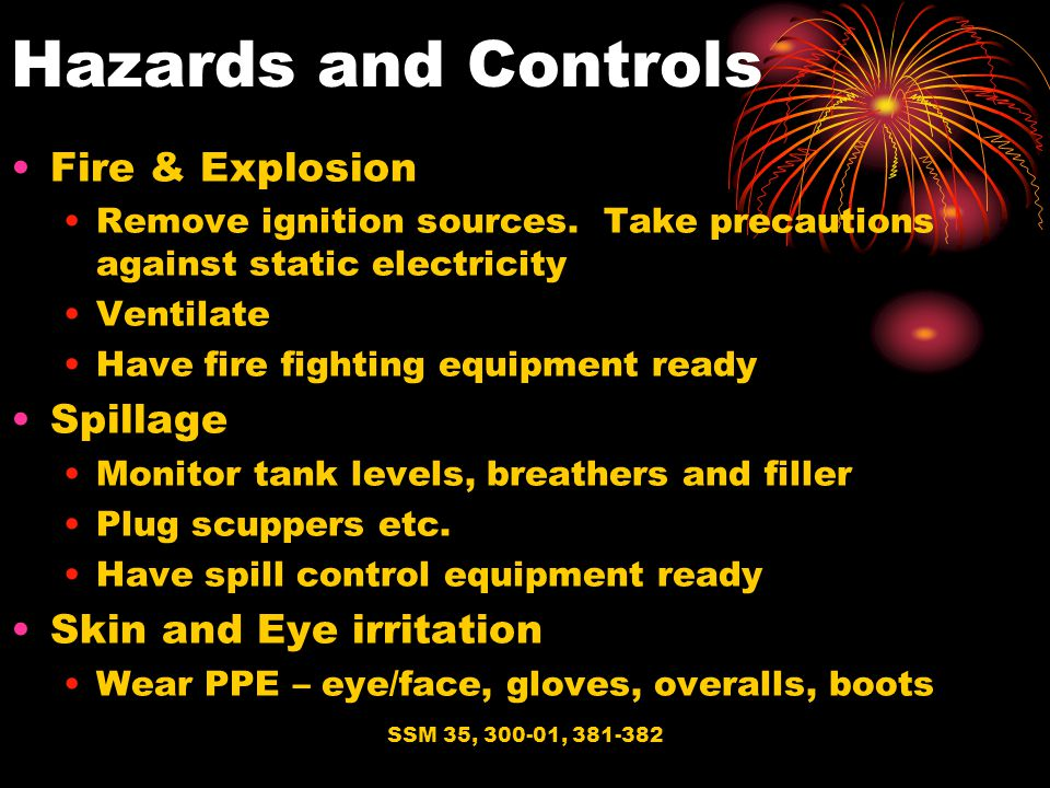 Hazards and Controls Fire & Explosion Spillage Skin and Eye irritation