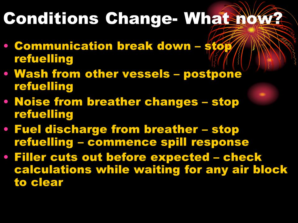 Conditions Change- What now
