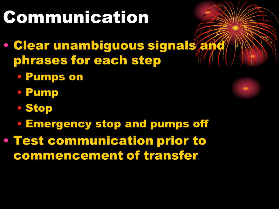 Communication Clear unambiguous signals and phrases for each step
