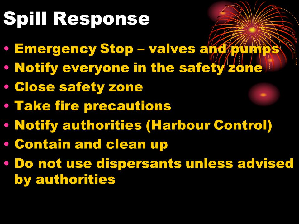 Spill Response Emergency Stop – valves and pumps