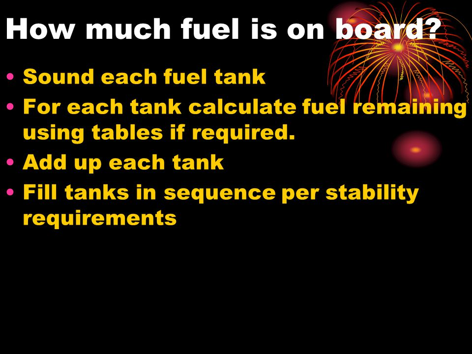 How much fuel is on board