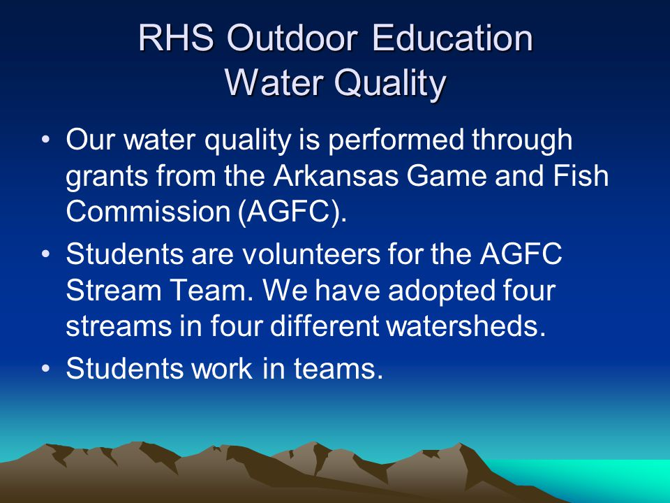 RHS Outdoor Education Water Quality