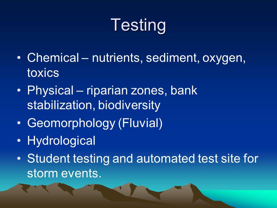 Testing Chemical – nutrients, sediment, oxygen, toxics