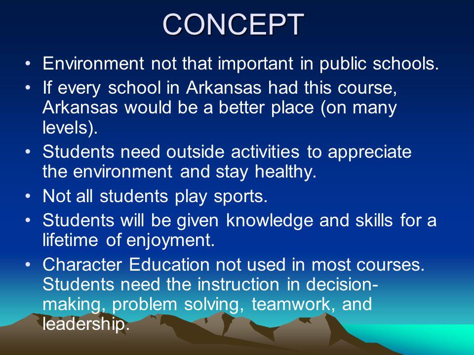 CONCEPT Environment not that important in public schools.