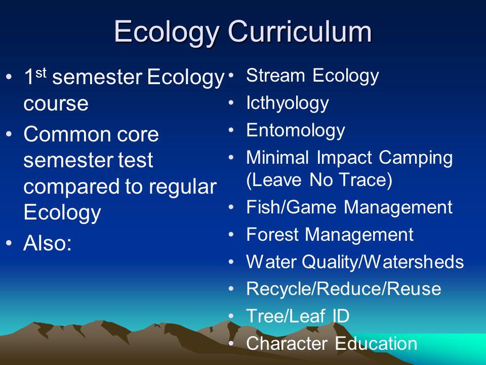 Ecology Curriculum 1st semester Ecology course