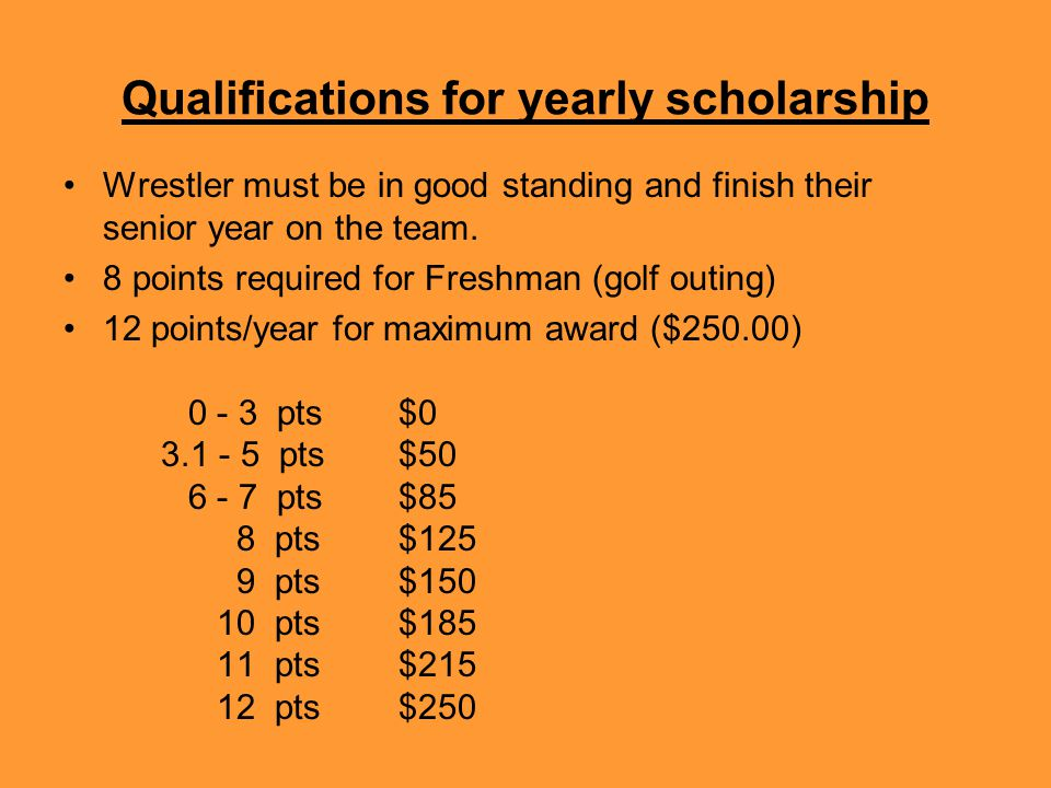 Qualifications for yearly scholarship