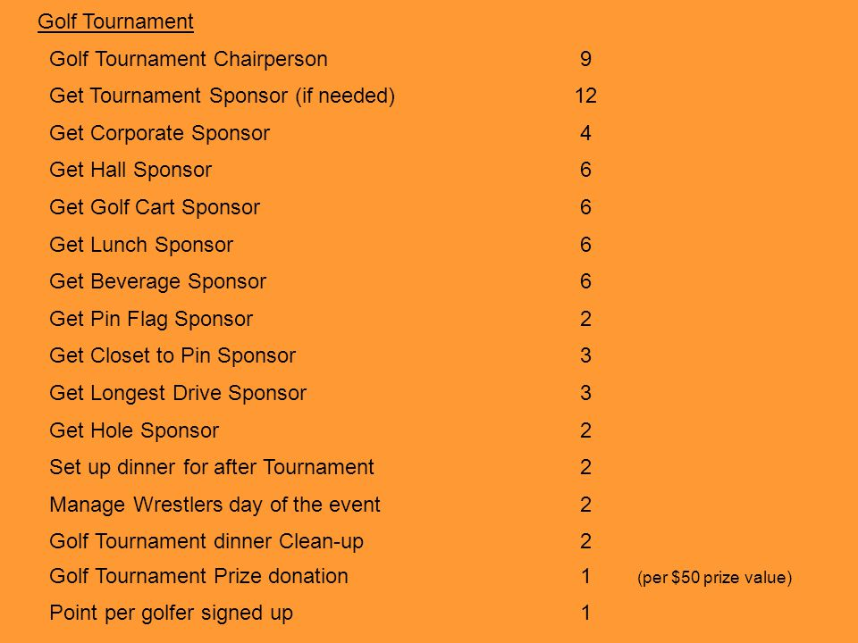 Golf Tournament Chairperson 9 Get Tournament Sponsor (if needed) 12
