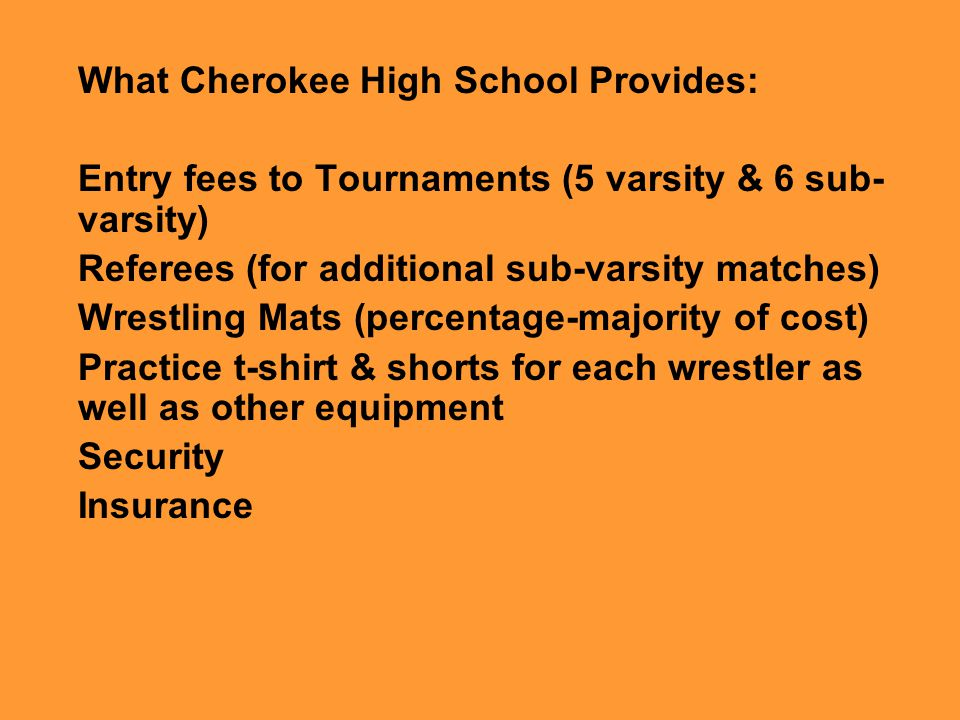 What Cherokee High School Provides: