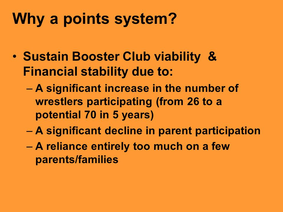 Why a points system Sustain Booster Club viability & Financial stability due to: