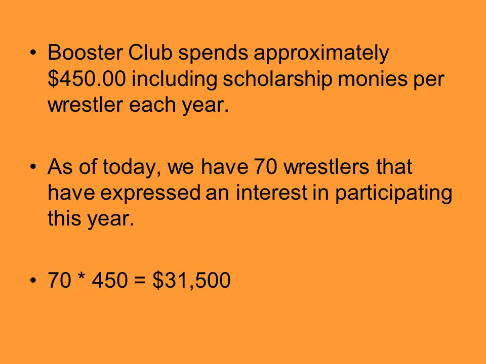 Booster Club spends approximately $450