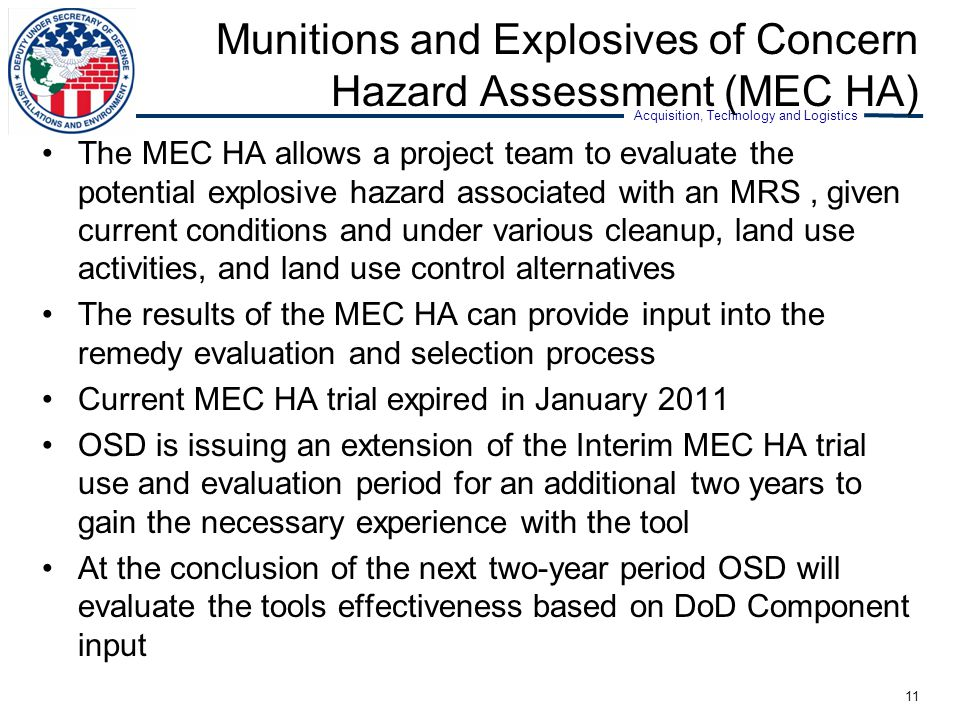 Munitions and Explosives of Concern Hazard Assessment (MEC HA)
