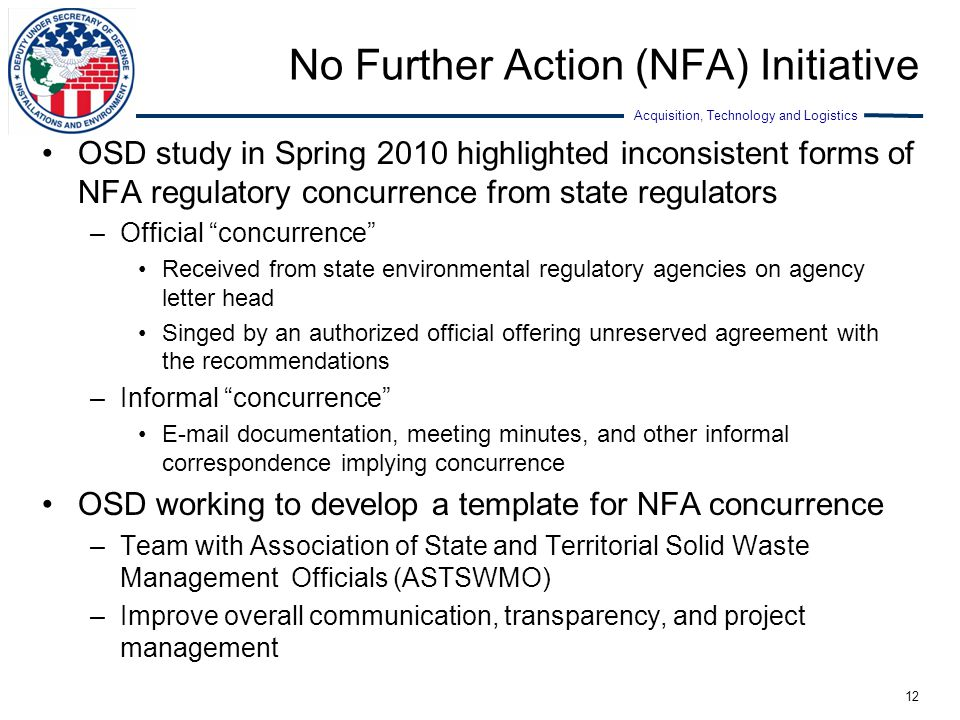 No Further Action (NFA) Initiative