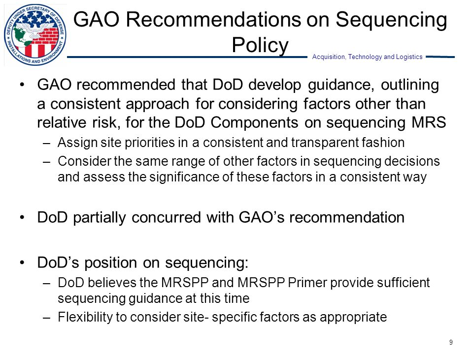 GAO Recommendations on Sequencing Policy