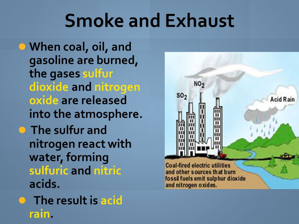 Smoke and Exhaust When coal, oil, and gasoline are burned, the gases sulfur dioxide and nitrogen oxide are released into the atmosphere.