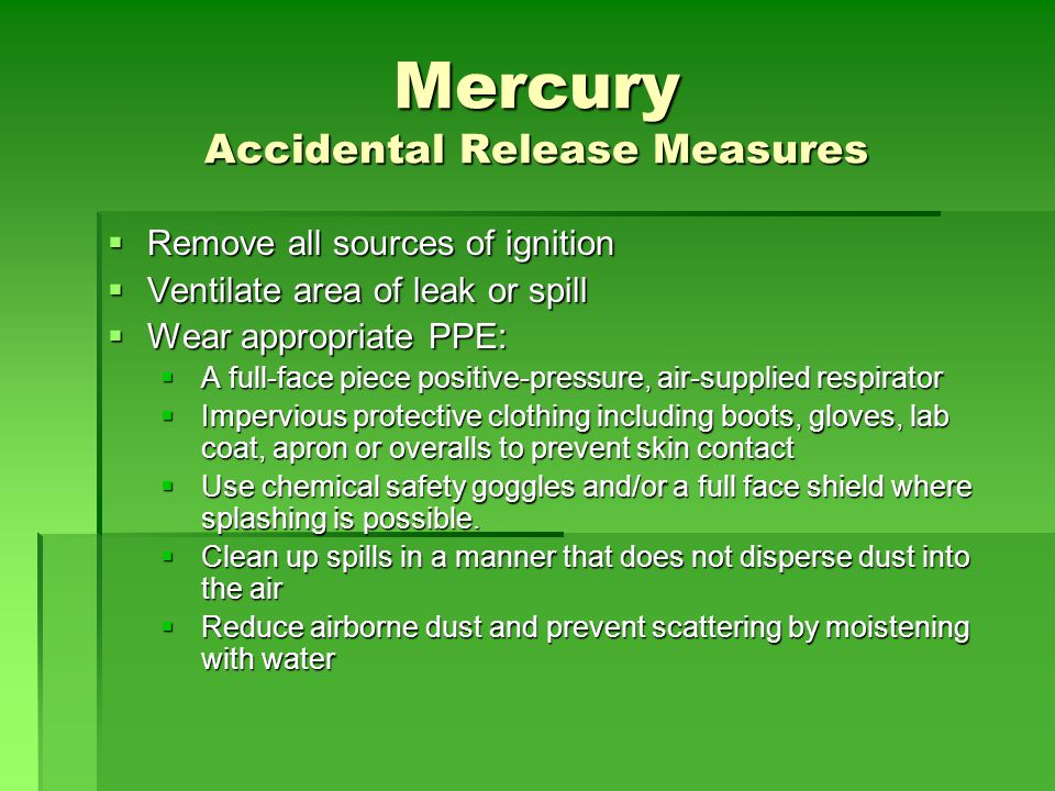 Mercury Accidental Release Measures