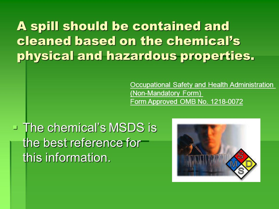 The chemical's MSDS is the best reference for this information.