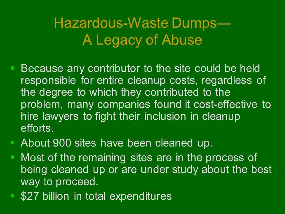 Hazardous-Waste Dumps— A Legacy of Abuse