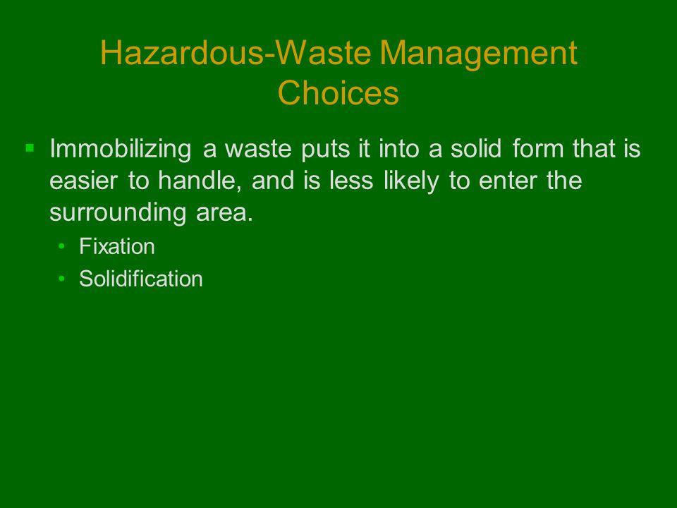 Hazardous-Waste Management Choices