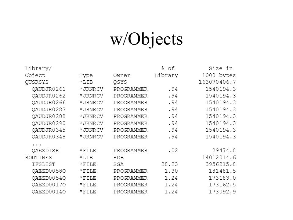 w/Objects Library/ % of Size in Object Type Owner Library 1000 bytes