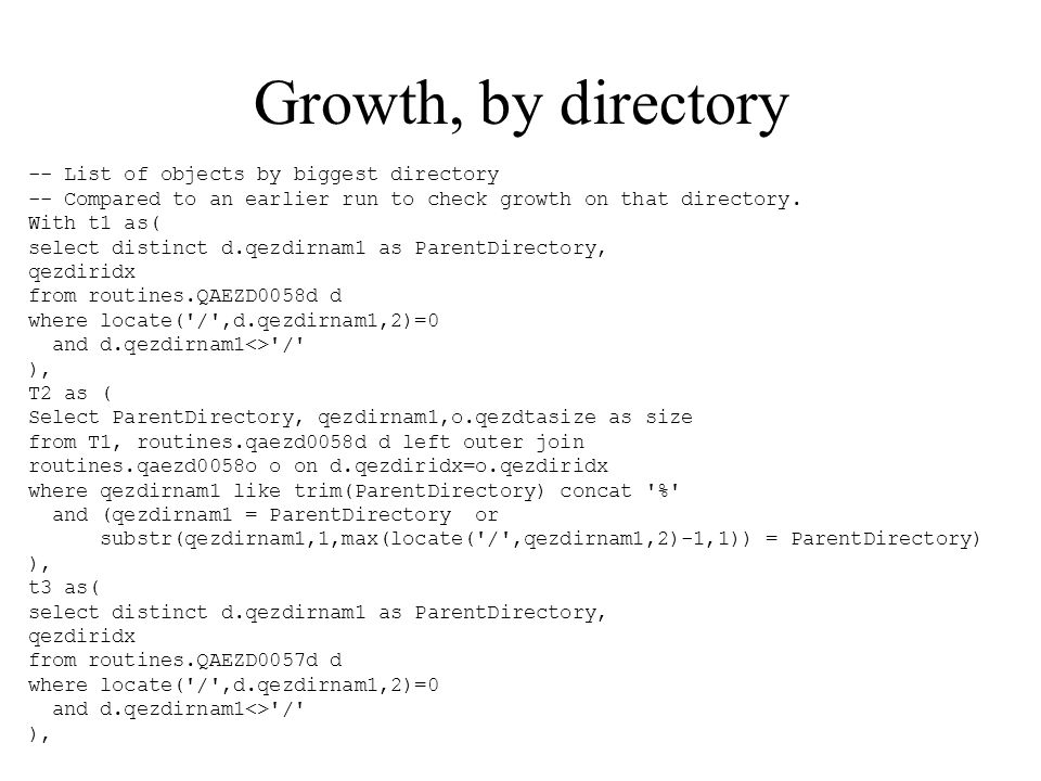 Growth, by directory -- List of objects by biggest directory