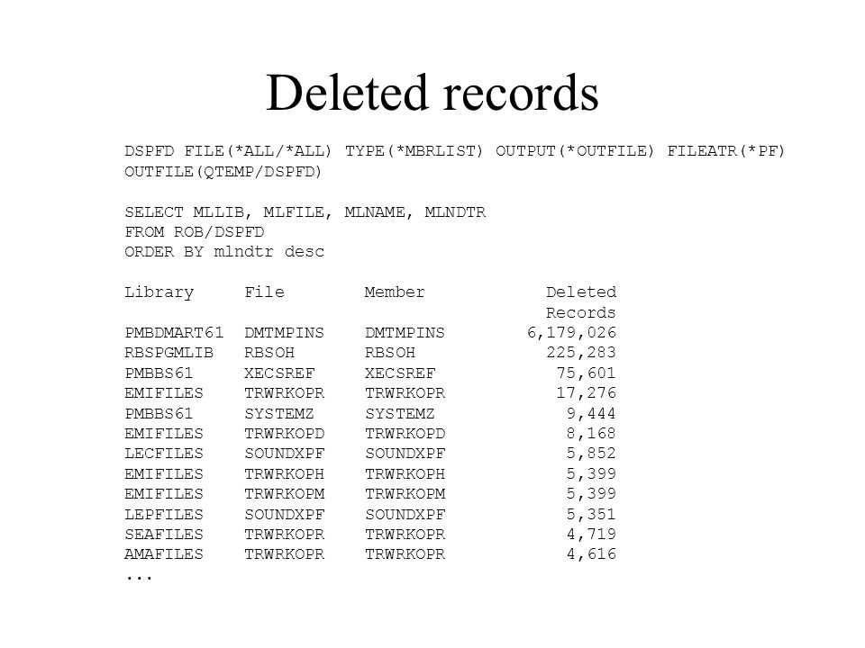 Deleted records DSPFD FILE(*ALL/*ALL) TYPE(*MBRLIST) OUTPUT(*OUTFILE) FILEATR(*PF) OUTFILE(QTEMP/DSPFD)
