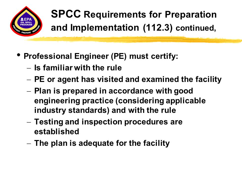 SPCC Requirements for Preparation and Implementation (112
