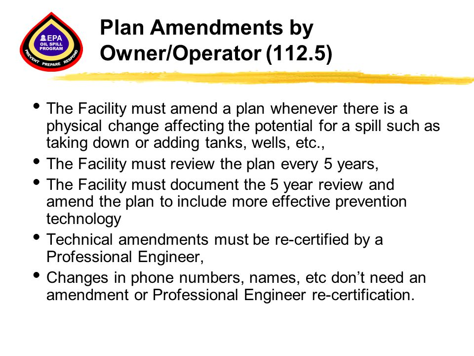 Plan Amendments by Owner/Operator (112.5)