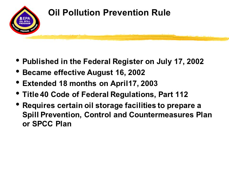 Oil Pollution Prevention Rule