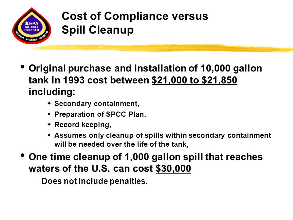 Cost of Compliance versus Spill Cleanup