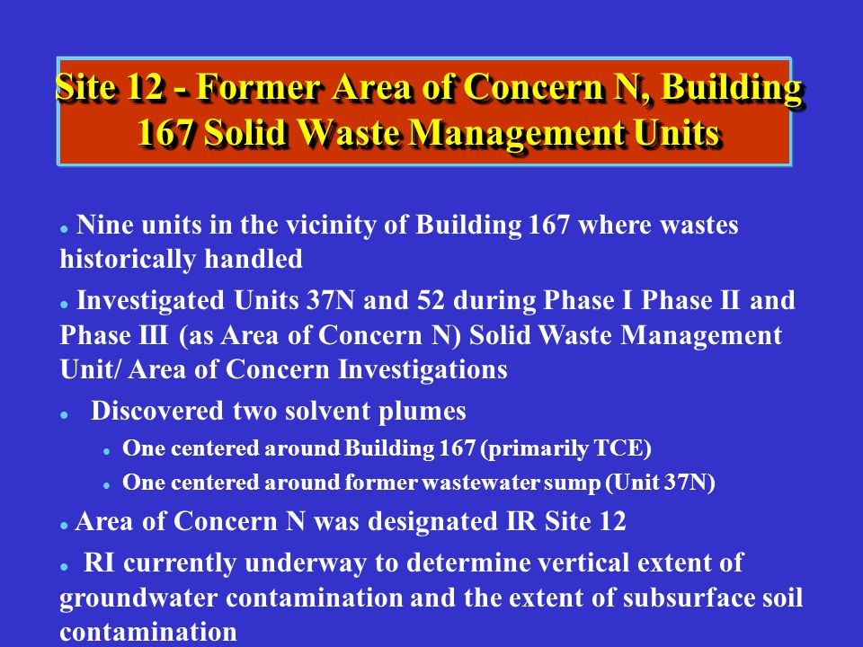 Site 12 - Former Area of Concern N, Building 167 Solid Waste Management Units