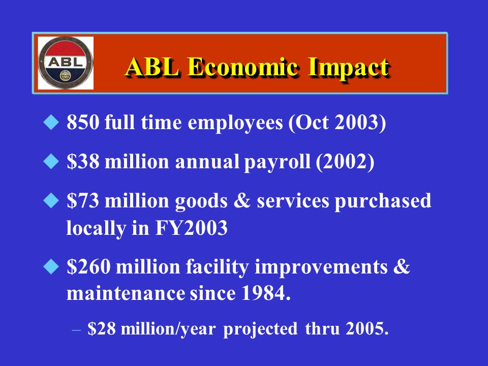 ABL Economic Impact 850 full time employees (Oct 2003)